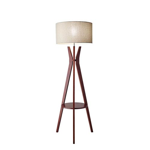 Wood base floor lamp bellacor adesso bedford solid walnut wood one light floor lamp with shelf aloadofball Choice Image