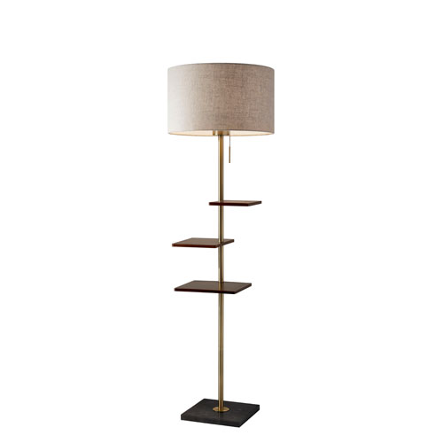 Adesso Griffin Antique Brass and Walnut Rubberwood One-Light Shelf Floor Lamp