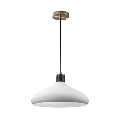 Astor Antique Brass with Black Marble Accents One-Light Pendant