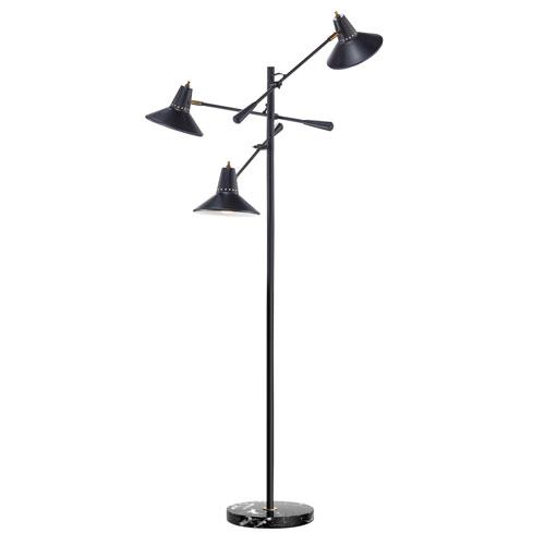 Adesso Nelson Black Three-Light Floor Lamp