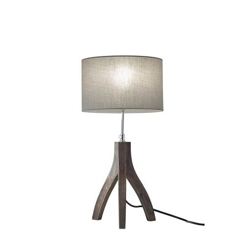 Adesso Sherwood Pine Wood with Rustic Wash Black Finish One-Light Table Lamp
