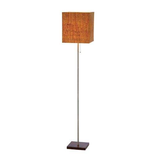 Adesso Sedona Walnut Floor Lamp w/Square Natural Cork Shade