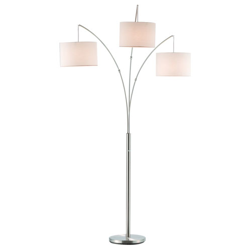 Trinity Brushed Steel Three-Light Arc Lamp