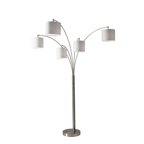Trinity Brushed Steel Five-Light Arc Floor Lamp