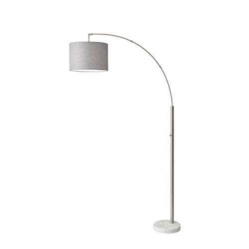 Adesso Bowery Brushed Steel One-Light Arc Lamp