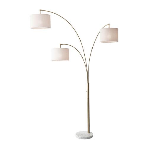 Adesso Bowery Antique Brass Three-Light Arc Lamp