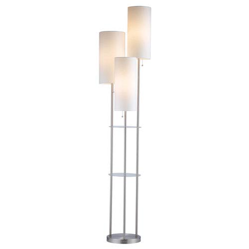Trio Brushed Steel Three-Light Floor Lamp