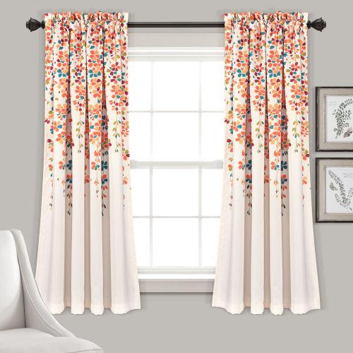 Weeping Flower Off White and Tangerine 52 x 63 In. Room Darkening Window Curtain Panel, Set of 2