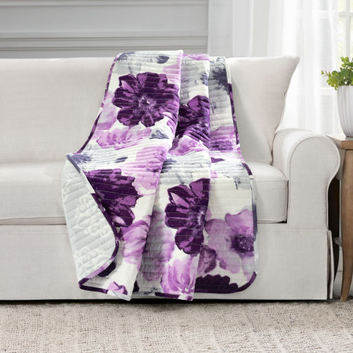 Leah Gray and Purple 50 x 60 In. Throw