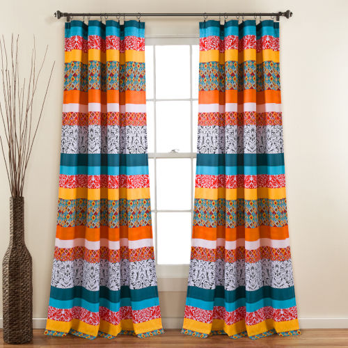 Boho Stripe 52 x 84 In. Window Curtain Panel, Set of 2