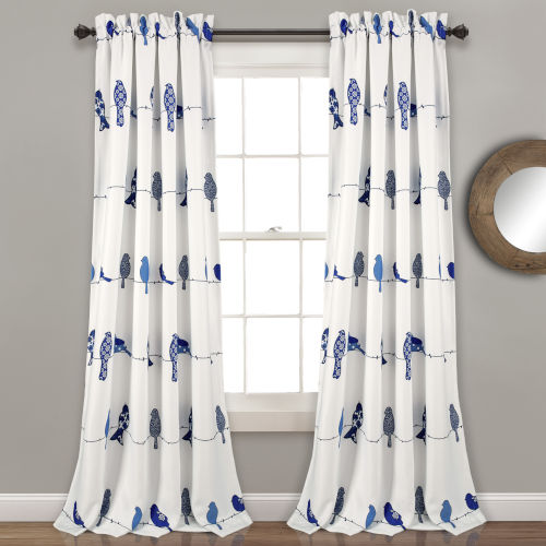 Rowley Birds Blue and White 52 x 95 In. Room Darkening Window Curtain Panel, Set of 2