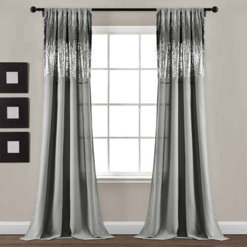 Dark Gray and Black 42 x 84 In. Window Curtain Panel, Set of 2