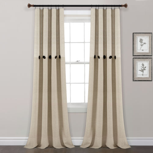 Farmhouse Beige 40 x 84 In. Button Stripe Window Curtain Panel, Set of 2