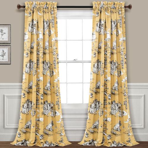 Yellow and Gray 52 x 84 In. Room Darkening Window Curtain Panel, Set of 2
