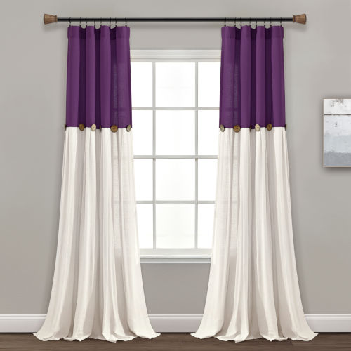 Linen Button Purple and White 40 x 84 In. Single Window Curtain Panel