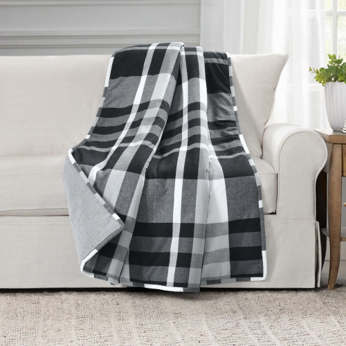 Farmhouse Black and White 50 x 60 In. Yarn Dyed Plaid Throw