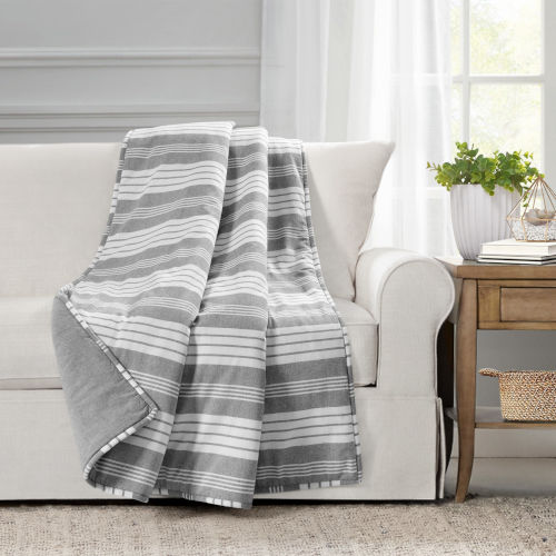 Farmhouse Gray and White 50 x 60 In. Yarn Dyed Stripe Throw