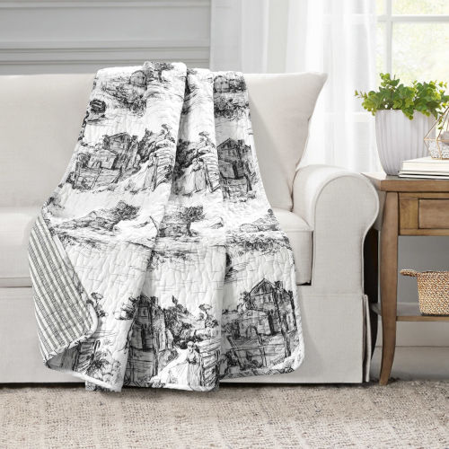 White and Charcoal 50 x 60 In. Reversible Single Throw