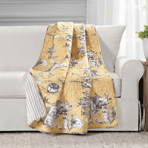 Yellow and Gray 50 x 60 In. Reversible Throw