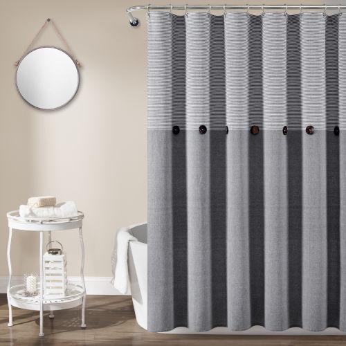 Farmhouse Gray 72 x 72 In. Button Stripe Woven Shower Curtain