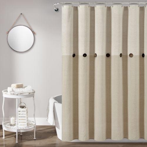 Farmhouse Beige 72 x 72 In. Button Stripe Woven Shower Curtain
