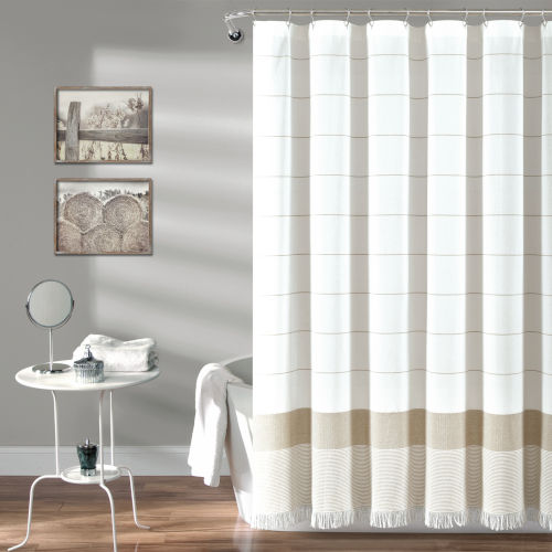 Taupe and White 72 x 72 In. Single Shower Curtain