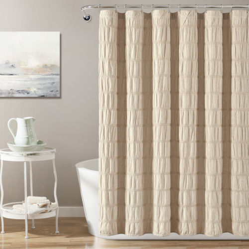 Waffle Stripe Taupe 72 x 72 In. Single Shower Curtain