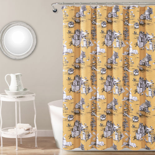Yellow and Gray 72 x 72 In. Shower Curtain