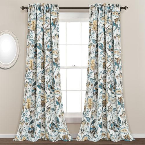 Cynthia Jacobean 52 x 84 In. Room Darkening Window Curtain Panel, Set of 2