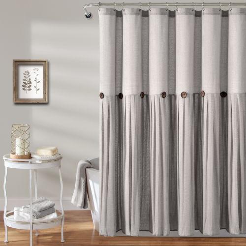 Linen Button Gray 72 x 72 In. Button Single Shower Curtain
