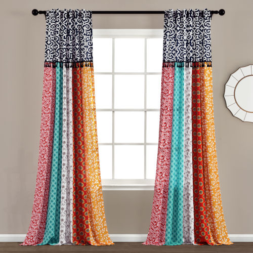 Boho Patch 45 x 95 In. Window Curtain Panel, Set of 2