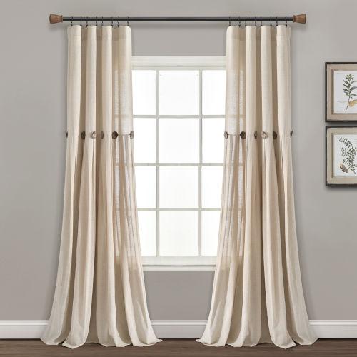 Linen Button Cream 40 x 95 In. Single Window Curtain Panel