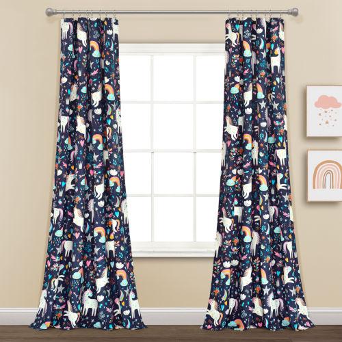 Unicorn Heart Navy 52 x 84 In. Window Curtain Panel, Set of 2
