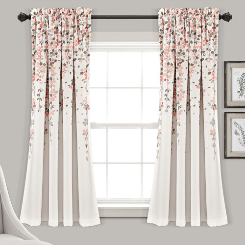 Weeping Flower Blush and Gray 52 x 63 In. Room Darkening Window Curtain Panel, Set of 2