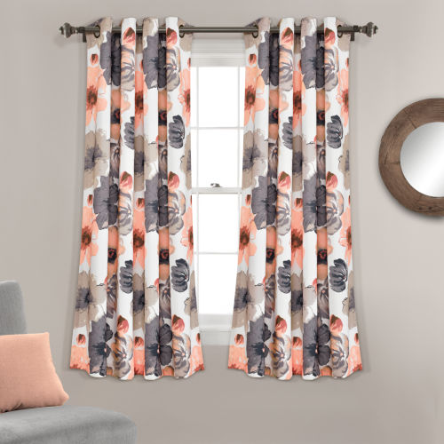 Leah Coral and Gray 52 x 63 In. Room Darkening Window Curtain Panel, Set of 2