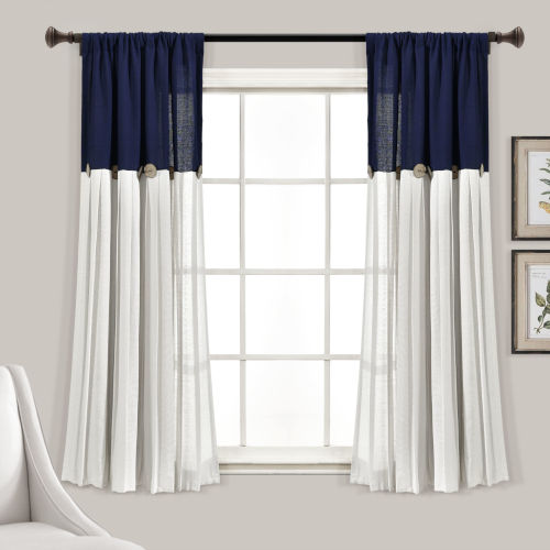 Linen Button Blue and White 40 x 63 In. Single Window Curtain Panel