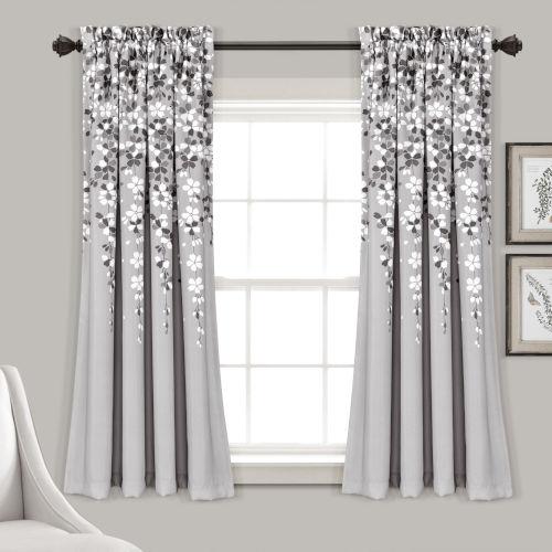 Weeping Flower Gray 52 x 63 In. Room Darkening Window Curtain Panel, Set of 2