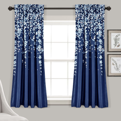 Weeping Flower Navy 52 x 63 In. Room Darkening Window Curtain Panel, Set of 2