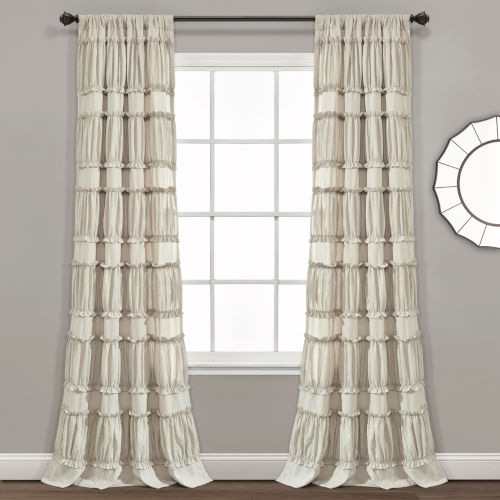 Nova Ruffle Beige 42 x 84 In. Window Curtain Panel, Set of 2