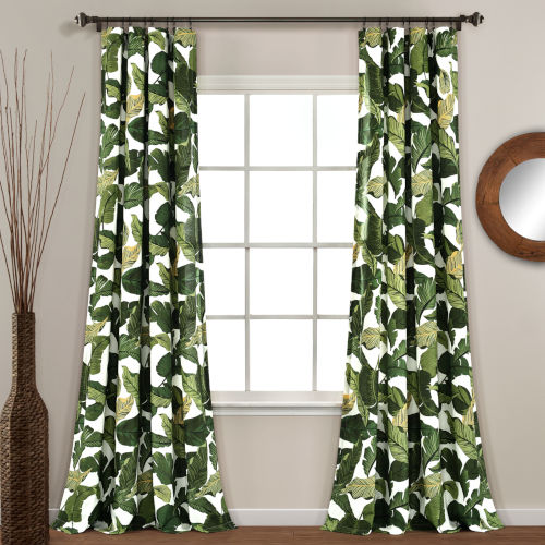 Tropical Paradise Green 52 x 84 In. Window Curtain Panel, Set of 2
