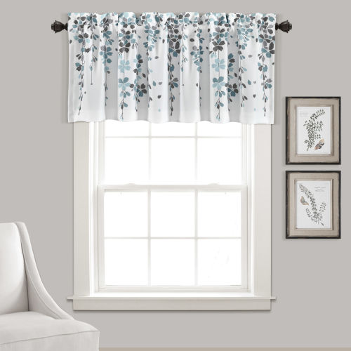 Weeping Flower Blue and White 52 x 18 In. Window Valance