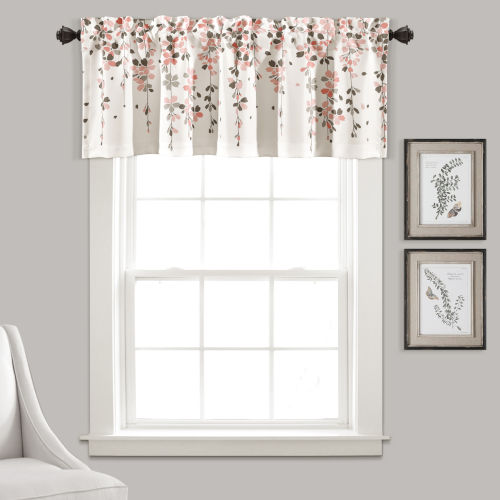 Weeping Flower Blush and Gray 52 x 18 In. Window Valance