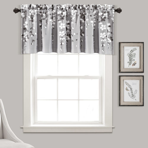 Weeping Flower Gray 52 x 18 In. Window Valance