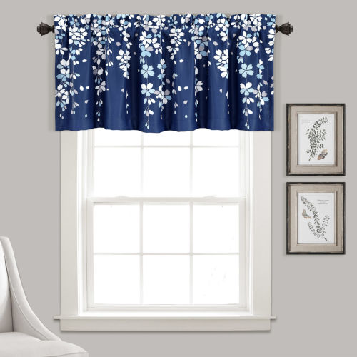 Weeping Flower Navy and White 52 x 18 In. Window Valance