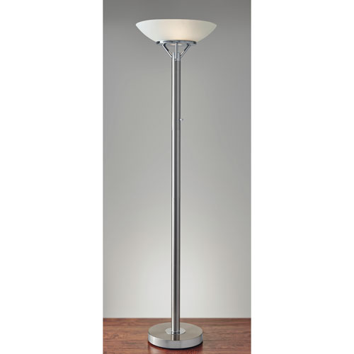Expo Brushed Steel Two-Light Torchiere