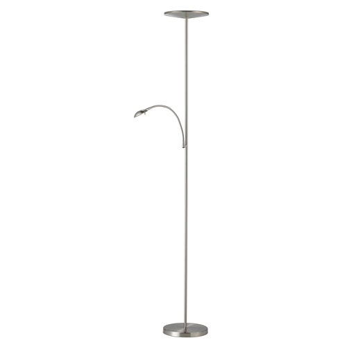 Pluto Brushed Steel One-Light LED Torchiere