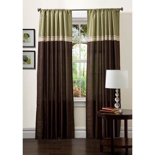 Terra Curtain Panel Pair Green and Chocolate 120-Inch