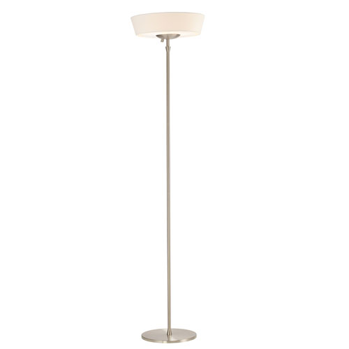 Harper Brushed Steel Two-Light Floor Lamp with White Linen Shade