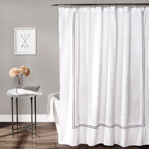 Hotel Collection White and Gray Shower Curtain
