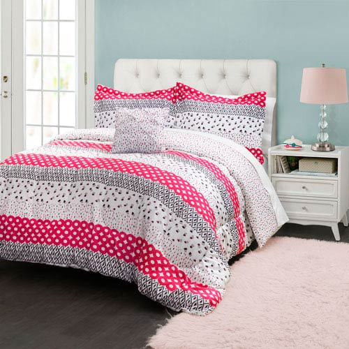 Franny Pink Three-Piece Twin Comforter Set
